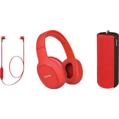 image TOSHIBA - Pack Audio Sans fil 3 en 1 - HSP-3P19S - Rouge - Casque Bluetooth - Enceinte Bluetooth - Ecouteur Bluetooth