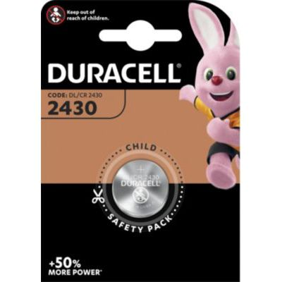 image Duracell 2430 Pile Bouton Lithium 3V, Lot de 1, (DL2430/CR2430) pour Porte-clés, Balances et Dispositifs Portables et Médicaux