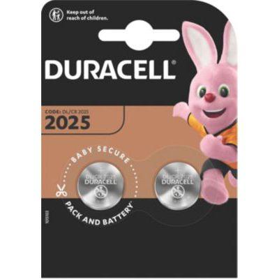 image Duracell 2025 Pile Bouton Lithium 3V, Lot de 2, avec Technologie Baby Secure, pour Porte-clés, Balances et Dispositifs Portables et Médicaux (DL2025/CR2025)