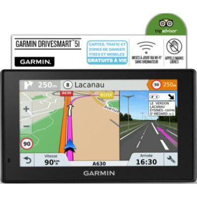 """image Garmin DriveSmart 51 LMT-S Fixe 5"""" TFT Écran Tactile 173,7 g Noir Navigateur GPS (Multi, Europe du Sud, 12,7 cm (5""""), 480 x 272 Pixels, TFT, Horizontal)"""