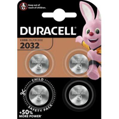 image Duracell 2032 Pile bouton lithium 3V, lot de 4, avec Technologie Baby Secure, pour porte-clés, balances et dispositifs portables et médicaux (DL2032/CR2032)
