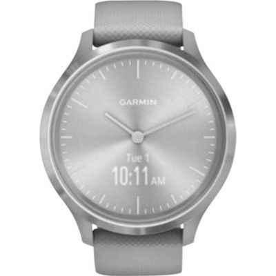 image Garmin Vívomove 3 : Montre Connectée à Aiguilles Mécaniques et Écran Tactile avec Suivi GPS Silver/ Powder Gray – Cadran 44mm