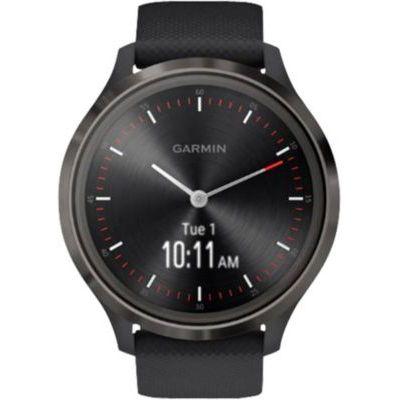 image Garmin Vívomove 3 : Montre Connectée à Aiguilles Mécaniques et Écran Tactile avec Suivi GPS Slate/ Black – Cadran 44mm