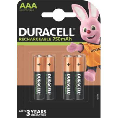 image Duracell Piles Rechargeables AAA 750 Mah, lot de 4 piles