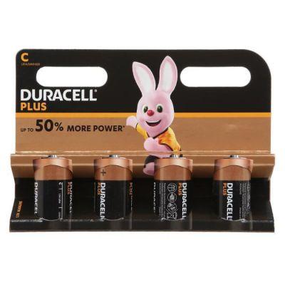 image Duracell Plus, Lot de 4 Piles Alcalines Type C 1,5 Volts LR14 MN1400