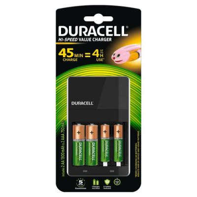 image Chargeur de Piles Duracell CEF14 4 Heures, Avec Piles Rechargeables incluses, AA + AAA