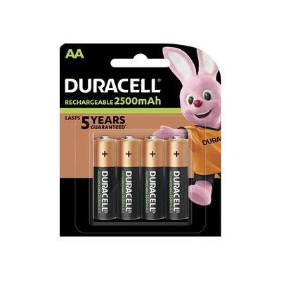 image Duracell Piles Rechargeables AA 2500 mAh idéales pour les manettes Xbox, pack de 4 piles