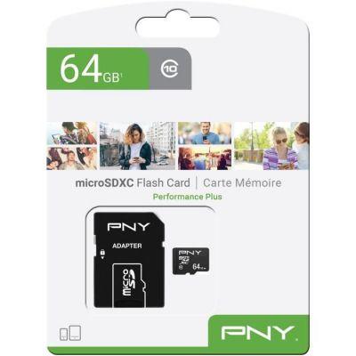 image PNY Performance Plus Carte Mémoire microSDXC 64 Go, Classe 10 + Adaptateur SD