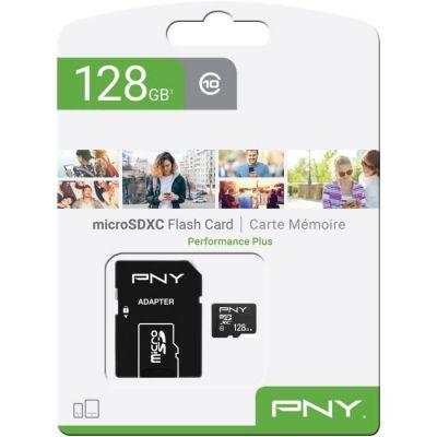 image PNY Performance Plus Carte Mémoire microSDXC 128 Go + Adaptateur SD, Classe 10