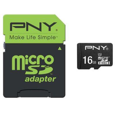 image PNY Carte mémoire MicroSDHC Performance 16 Go + Adaptateur (Classe 10 , 50Mo/s)