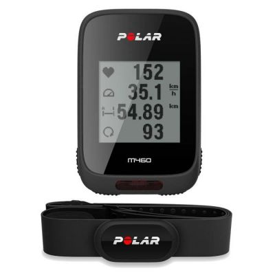 image Polar - M460 - Compteur Vélo GPS Intégré avec Ceinture Capteur de Fréquence Cardiaque - Noir & V650 Support vélo