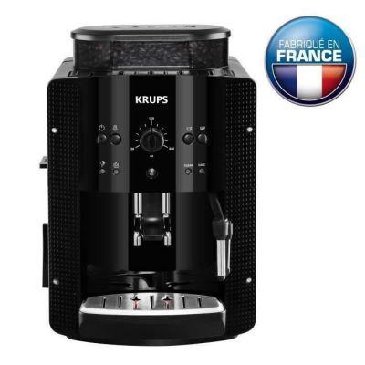 image KRUPS ESSENTIAL NOIRE Machine à café à grain Machine à café broyeur grain Cafetière expresso 2 tasses Nettoyage automatique Buse vapeur CappuccinoYY8125FD