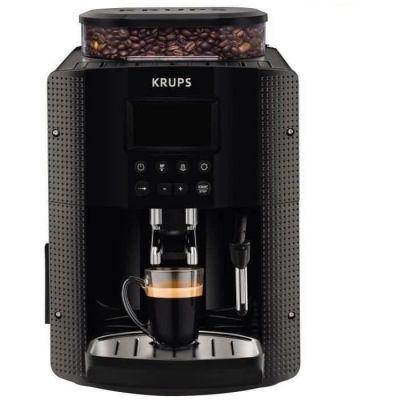 image Krups Essential Machine à Café à Grain Machine à Café Broyeur Grain Cafetière Expresso Ecran LCD Nettoyage Automatique Buse Vapeur Cappuccino Noire YY8135FD