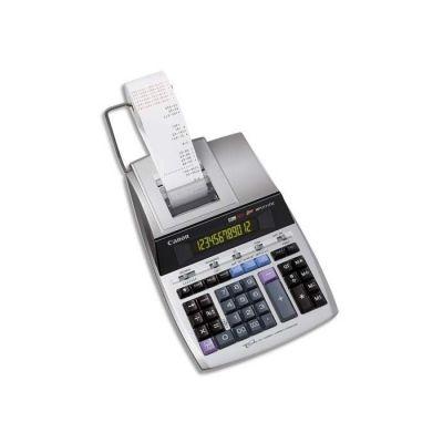 image Canon MP1211-LTSC Calculatrice de bureau avec Imprimante à ruban encreur 12 chiffres Ecran rétro-éclairé 2 couleurs Fonction Taxe / Business Finition métal argenté
