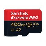 Carte Mémoire microSDXC SanDisk Extreme PRO 400 Go + Adaptateur SD avec Performances Applicatives A2 jusqu'à 170 Mo/s, Classe 10, U3, V30
