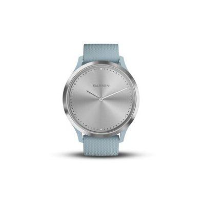image Garmin vívomove HR - Montre Connectée Hybride Élégante avec Écran Tactile – Silver, Bracelet Bleu
