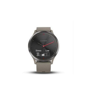 image Garmin vívomove HR - Montre Connectée Hybride Élégante avec Écran Tactile – Noir, Bracelet sable