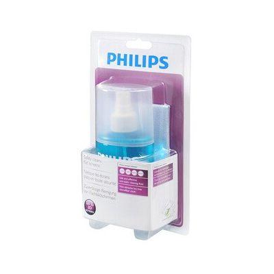 image Philips SVC1116 Kit de Nettoyage 200ml pour tout Type d'Ecrans avec Chiffon en Microfibre Inclus et Formule Antistatique