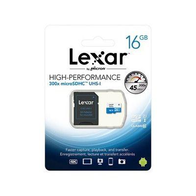 image LEXAR - 300x Micro SDHC™ UHS-1 Carte Micro SD Haute-Performance 16GB Class 10 – Blanc/Bleu