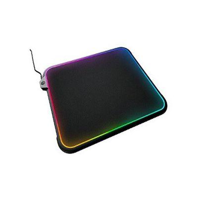 image SteelSeries QcK Prism - Tapis de Souris de Jeu - Éclairage Réactif RGB - Surface à Double Texture 320 mm x 270 mm x 9mm - Noir