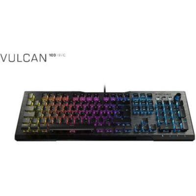 image Roccat Vulcan 100 - Clavier Gaming mécanique RGB, rétro-éclarage LED AIMO multicolore touche par touche, switchs Roccat Titan, conception durable (plaque supérieure en aluminium)