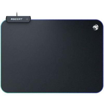 image ROCCAT Sense AIMO Tapis de Souris de Gaming avec éclairage LED AIMO, Dimensions maximales de précision, Dessous caoutchouté, 350 mm x 250 mm x 3 mm ROC-13-370 Noir + Aimo