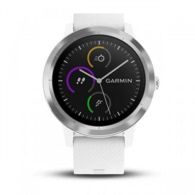 image Garmin - Vivoactive 3 - Montre Connectée de Sport avec GPS et Cardio Poignet (Ecran : 1,6 pouces) - Argent avec Bracelet Blanc