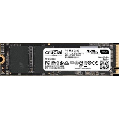 image Crucial P1 500Go  SSD (1900 Mo/s , 3D NAND, NVMe, PCIe, M.2) - CT500P1SSD8