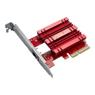 image Asus Xg-c100c Carte Réseau Pci Express et hernet 10 Gigabit Pour Des Transferts de Données Jusqu'à 10 Fois Plus Rapide , Rouge/Argent