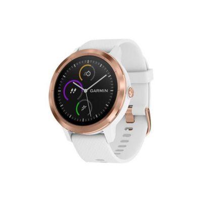 image Garmin vivoactive 3 - Montre Connectée de Sport avec GPS et Cardio Poignet - Rose Gold avec bracelet blanc