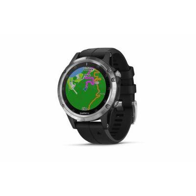 image Garmin Fenix 5 Plus Silver Bracelet Noir - Montre GPS Multisports avec cartographie, Musique, paiement sans Contact