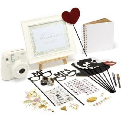 image [Pack Mariage] Instax Appareil photo instantané (blanc pur) + 60 photos + scrapbooking, rubans, stickers, découpes, stylos, accessoires, cadre et chevalet