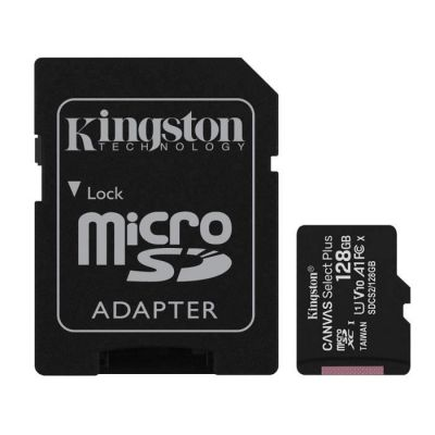 image produit Kingston Canvas Select Plus Carte MIcro SD SDCS2/128GB Class 10 + Adaptateur inclus - livrable en France