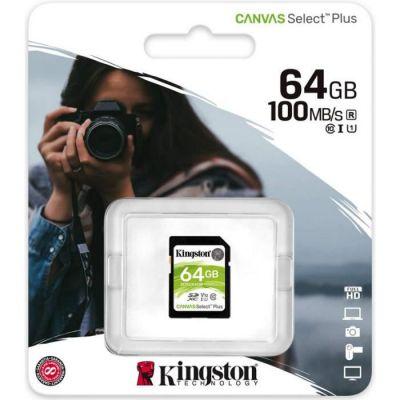 image Kingston SDS2/64GB Canvas Select Plus Carte SD Class 10 UHS-I 64 Go