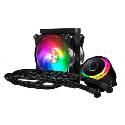 image Cooler Master MasterLiquid ML120R RGB Refroidisseur liquide CPU, synchronisation d'éclairage ARGB, conception de pompe premium et ventilateurs MF120R ARGB double push-pull