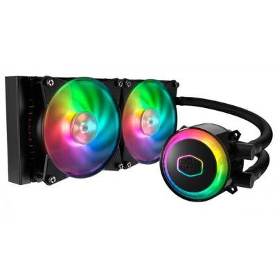 image Cooler Master MasterLiquid ML240R RGB Refroidisseur liquide CPU, synchronisation d'éclairage ARGB, conception de pompe premium et 2 ventilateurs MF120R ARGB