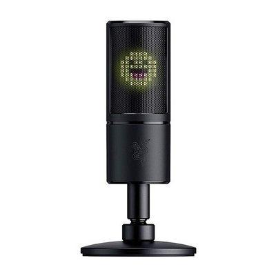 image Razer Seiren Emote - Microphone à Condensateur USB pour la Diffusion en Continu avec Affichage Emoticône (Ecran LED 8 bits, Réactif au Flux, Microphone Hypercardioïde, Amortisseur, Plug & Play) Noir