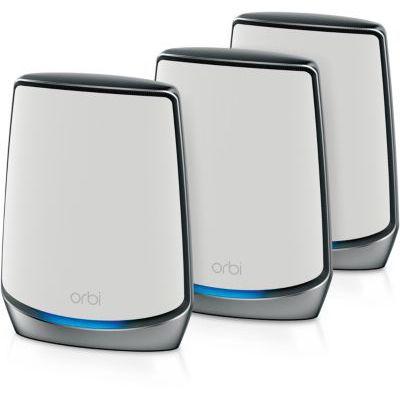 image NETGEAR Système WiFi Mesh Tri-Bandes WiFi 6 Orbi (RBK854), AX6000, pack de 4, un WiFi partout dans la maison, Vitesse Jusqu'à 6 Gbit/s, Couvre Jusqu'à 700m² et plus de 60 appareils, spécial murs épais