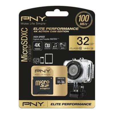 image PNY Carte mémoire MicroSDHC Elite Performance 32 Go + Adaptateur SD (100Mo/s, Classe 10 UHS-1 U3)