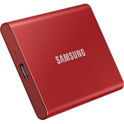 image Samsung T7 1 To USB 3.2 SSD externe rouge métallique - MU-PC1T0R/WW