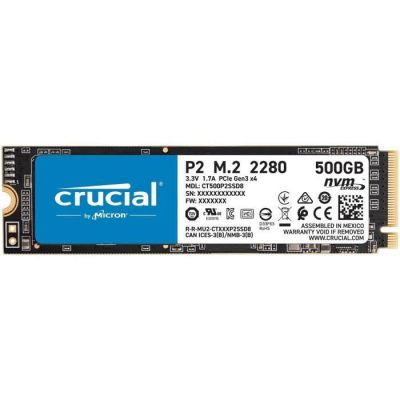 image Crucial P2 CT500P2SSD8 SSD Interne 500Go, Vitesses atteignant 2400 Mo/s (3D NAND, NVMe, PCIe, M.2)