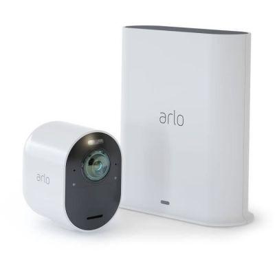 image Arlo Ultra 4K HDR | Caméra de Surveillance WiFi sans Fils, étanche IP65.Grand Angle 180° Spot intégré, Pack de 1 caméra & Accessoires Arlo Ultra et Pro 3 - Panneau Solaire Waterproof