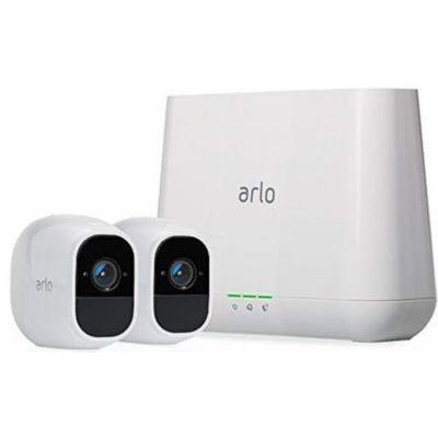image Arlo Pro 2 - Pack de 2 Smart caméra de Surveillance, 1080p HD Jour/Nuit, Grand Angle 100% sans Fils + Sonnette Intelligente connectée Arlo Doorbell, Arlo Chime Inclus