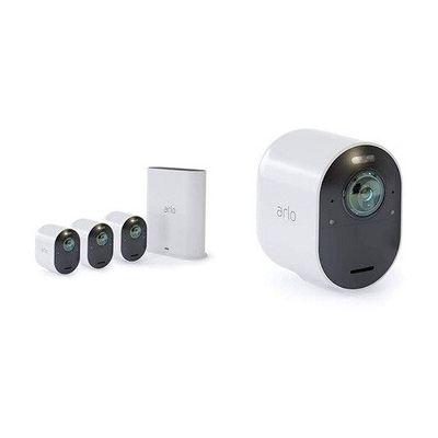 image Arlo Ultra 4K HDR | Pack de 4 Caméras de surveillance wifi sans fils (Grand Angle 180°, Spot intégré, vision nocture colorée. Étanche. Rechargeable. Abonnement gratuit 1 an) (VMS5440)