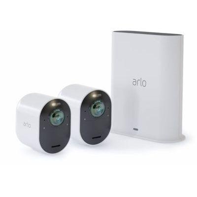 image Arlo Ultra 4K HDR | Caméra de Surveillance WiFi sans Fils. Grand Angle 180° Spot intégré, Pack de 2 caméras & Accessoires Arlo Ultra et Pro 3 - Panneau Solaire Waterproof