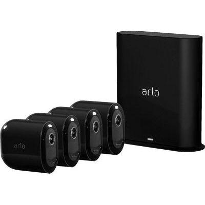 image Arlo Pro 3 | Black Edition - Pack de 4 caméras de Surveillance 2K HDR, Batterie Rechargeable, Alarme Grand Angle 160°, Audio Bi-directionnel avec Sonnette vidéo connectée Arlo Doorbell