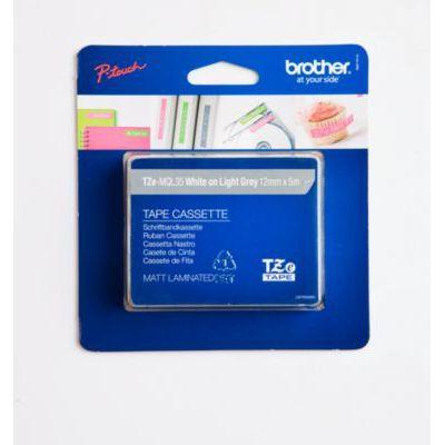 image Brother TZEMQL35 Ruban laminé et prédécoupé 12 mm Blanc/Gris clair