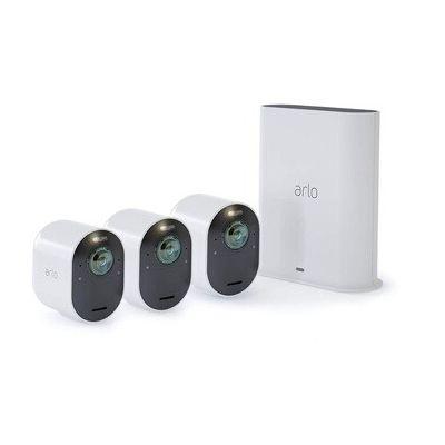 image Arlo Ultra | 4K HDR Pack de 3 Vision Nocturne Coloreée Eclairage Intégré Alarme Grand Angle 180° Rechargeable 100% avec Sonnette vidéo connectée Arlo Doorbell