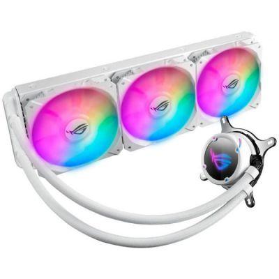 image ASUS ROG Strix LC 360 RGB White Edition, Cooler CPU All-in-One ROG, avec éclairage Addressable RGB, Aura Sync, revêtement Pompe NCVM et Ventilateur du radiateur ROG 120 mm