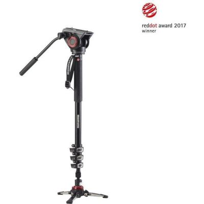 image Manfrotto XPRO Monopod + MVMXPRO500 Monopied Vidéo en Aluminium à 4 Sections Verrouillage Rapide Tête et Base Vidéo Fluides pour Vidéastes Professionnels et Caméscopes jusqu'à 5 kg